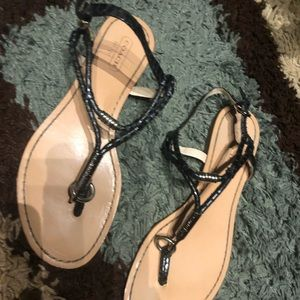 Coach gunmetal sandals with silver accent